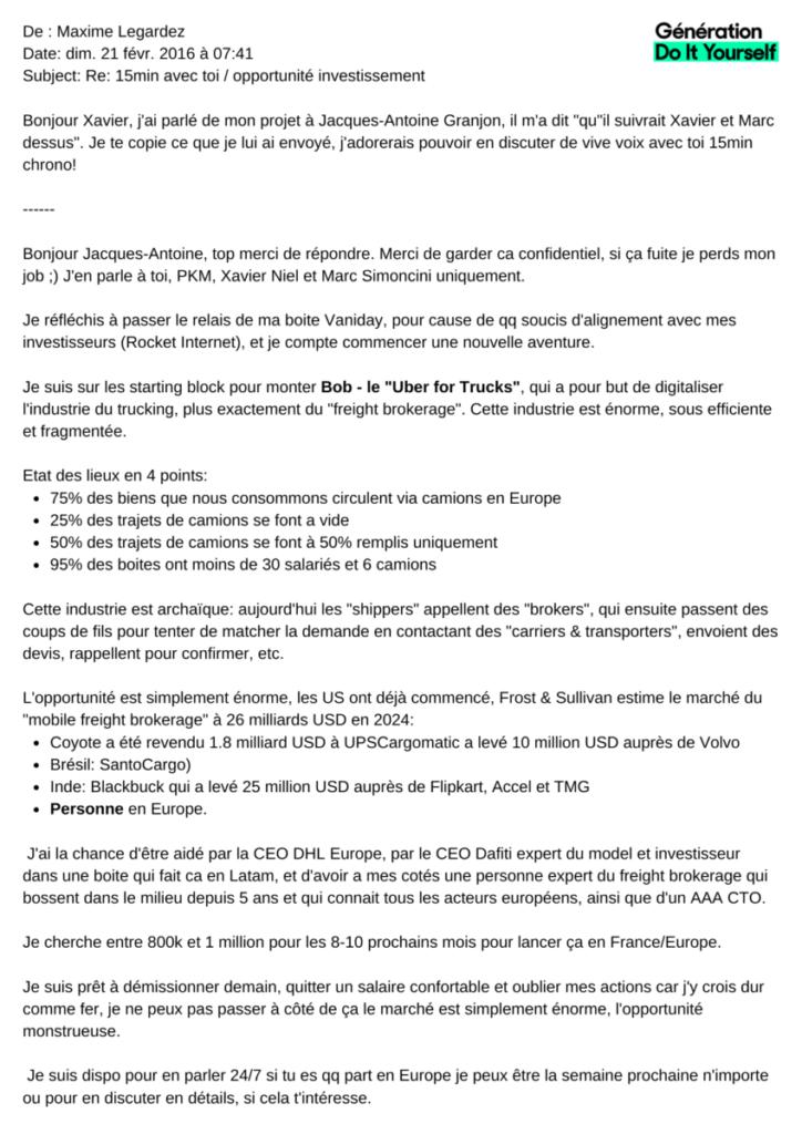 Gdiy Le Mail De Maxime Legardez Pour Trouver Des Investisseurs